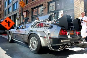 DeLorean time machine provided by Uber